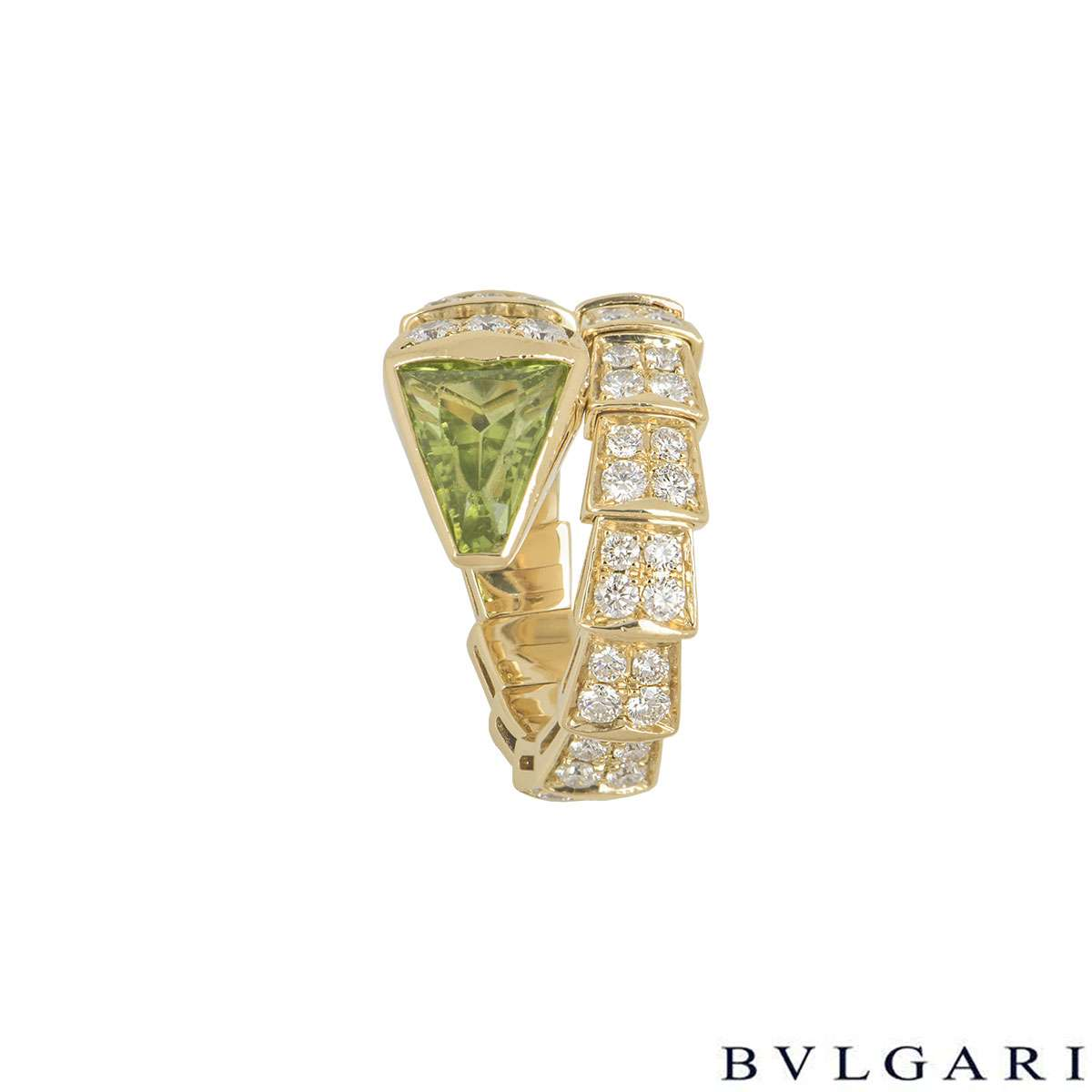 Bvlgari Yellow Gold Peridot & Diamond Serpenti Ring